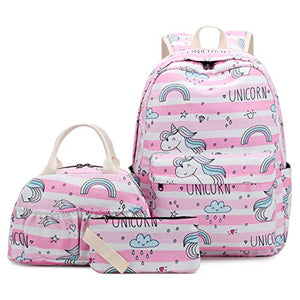 Pink and White Stripe unicorn backpack