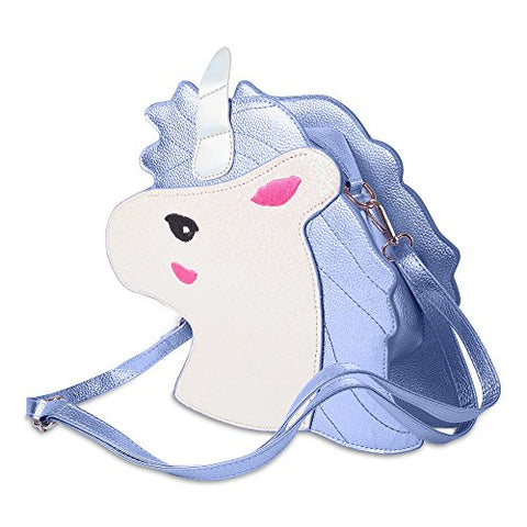 Unicorn Shaped Shoulder Bag For Girls | Pastel Blue