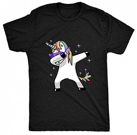 8TN Dabbing Unicorn Unisex-Children T Shirt - Black - M (9-11 Years)