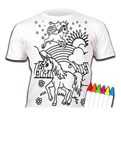 Splat Planet Unicorns T-Shirt Age 9-11 Colouring Kids T-Shirt With 6 Fabric Pens