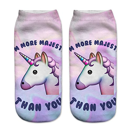 Cute Unicorn Socks Casual Sport Socks Pattern Socks for Kids Girls and Ladies Women (Unicorn 4 pair-B)