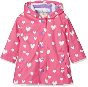 Hatley Girls Splash Rain Coat | Hearts |  Pink