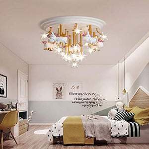 Unicorn Ceiling Lamp | White, Gold & Pink | Crystals