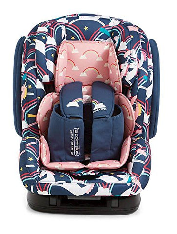Unicorn themed car seat purple and pink
