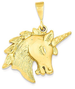 14k Yellow Gold Unicorn Head Pendant Charm Necklace For Women