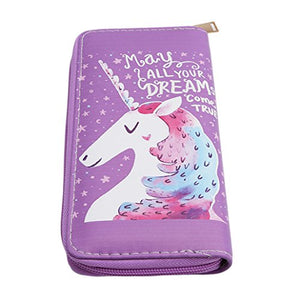 Chinget Women Unicorn Style Wallet Purse Card Holder Zipper Handbag (Dark Purple)
