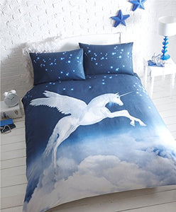 Unicorn Single Duvet Cover and 1 Pillowcase Bed Set, Polycotton, Blue