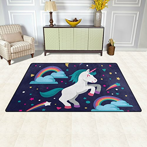 BENNIGIRY Super Soft Modern Unicorn Area Rugs Living Room Carpet Bedroom Rug for Children Play Solid Home Decorator Floor Rug and Carpets 31 x 20 Inch