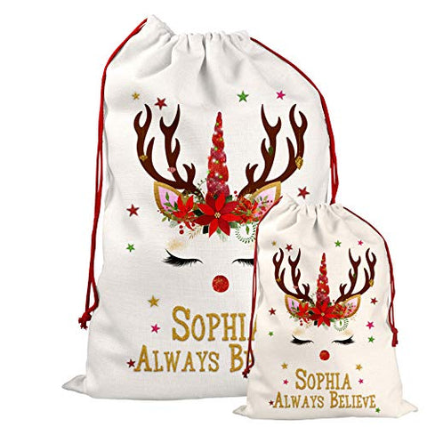 Personalised Christmas Santa Sack Bag | Unicorn Reindeer | For Toys & Gifts