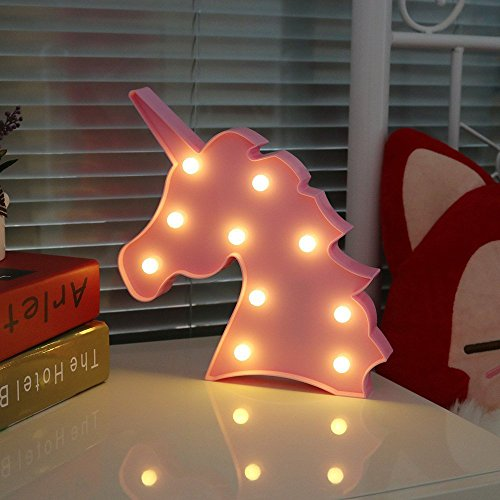 AIZESI  Unicorn Shaped Animal Light Table Lamp 3D Marquee Unicorn Sign Marquee Letter Nightlight Children's room decorated with Christmas present Decoration Battery Operated