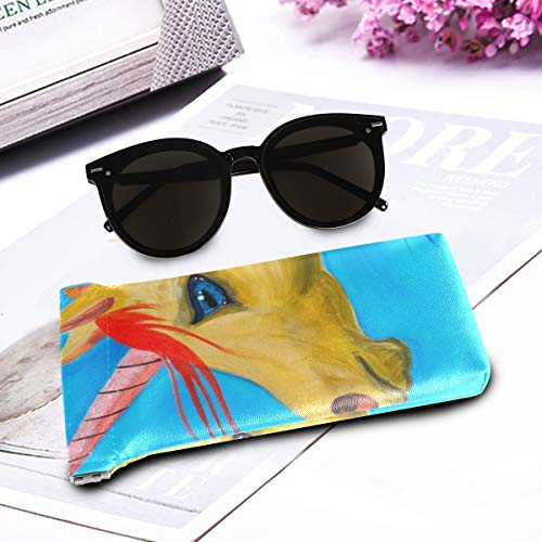 Blue unicorn horn sunglasses case