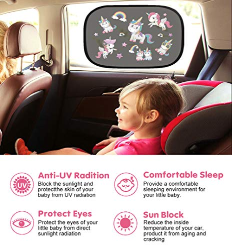 Car Sun Shade 2 Pack - Car Window Shades for Kids Baby Pet UV Rays/Sunlight Protection