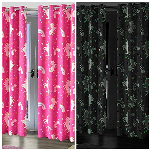Glow In The Dark Unicorn Blackout Pair Eyelet Curtains | Pink | 46 X 54 Inches