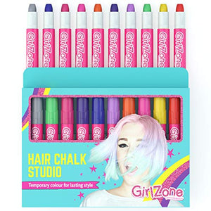 GirlZone: Rainbow Unicorn Hair Chalk Set For Girls | Gift Idea