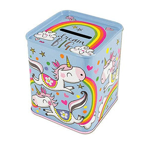 Unicorn money box tin colourful