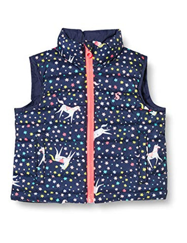 Joules Girl's Flip It Reversible Gilet | Navy Unicorn | Body Warmer