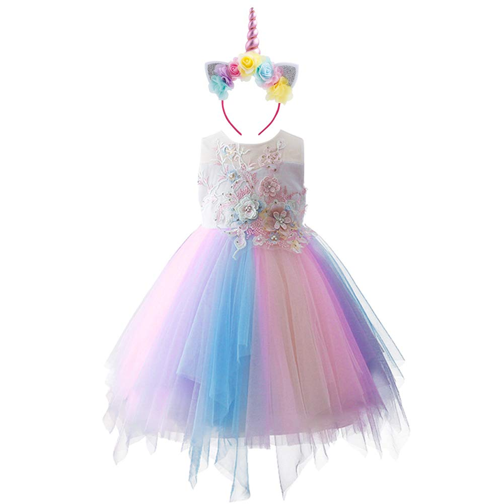 unicorn party dress in pastel colours for girls