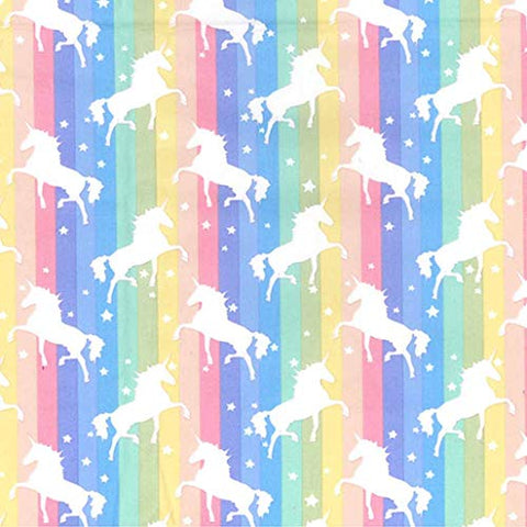 Rainbow Unicorns Print Cotton Poplin Fabric |  Dressmaking Quilting Fabric - Per Metre (Pastel)