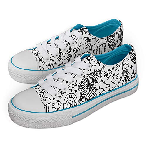 Under The Sea Pattern Unicorn Colour in Shoes White with Pens