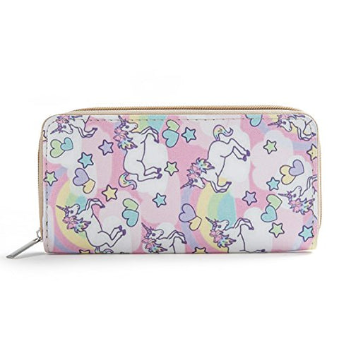 DonDon Women's Purse Wallet Unicorn Pattern saying Heart and stars