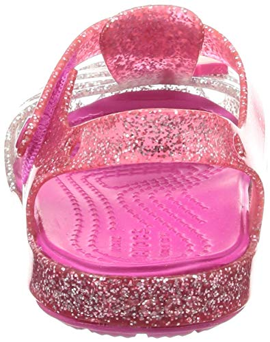 Unicorn Jellies Silver Pink Glitter Unicorn Motif Kids Girls - Crocs