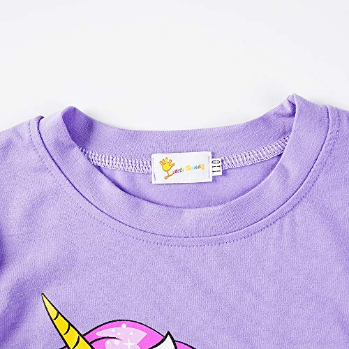 Little Hand Girls Pyjamas Set Unicorn Print Girls Pjs Short Sleeve Cotton Sleepwear Tops Shirts & Pants for Age 1-7 Years (5# Unicorn/Purple, 1-2 Years)