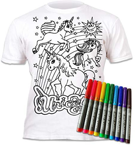 Colour your own Unicorn T-Shirt kids