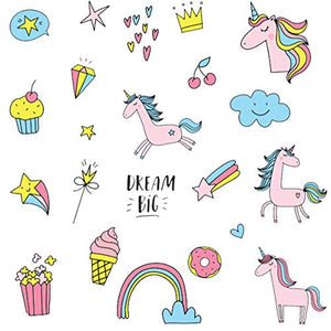Dream Big | Unicorn Wall Stickers | Hearts, Rainbows, Stars & Clouds | Decal