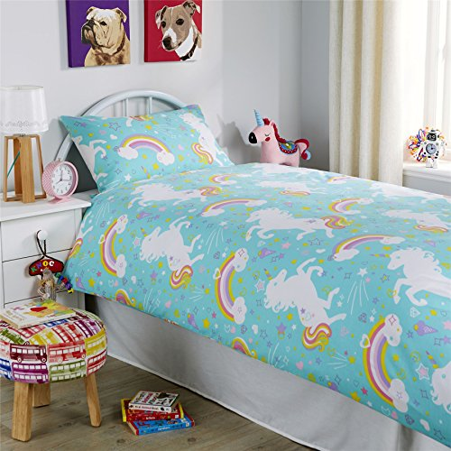 Duck Egg Blue Unicorn Duvet Cover Set