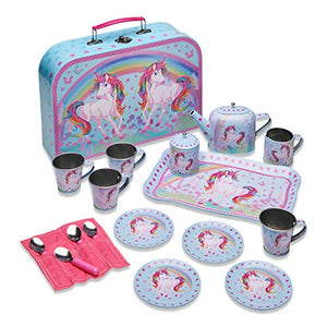 Unicorn Dream Metal Café Set & Carry Case Toy (14 Piece Pink Tea Set for Children)