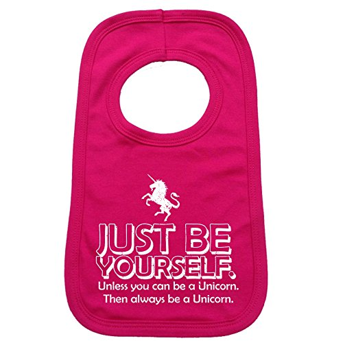 123t Baby Just Be Yourself ... Unicorn Baby Bib - Hot Pink