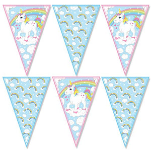 UNICORN and rainbows bunting decoration 12 Flags