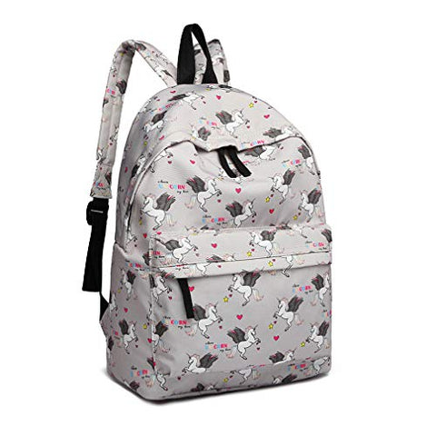 Unicorn grey rucksack kids school bag