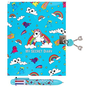 Unicorn Secret Lockable Journal Diary & Pen Set For Girls, Great Gift For Girls