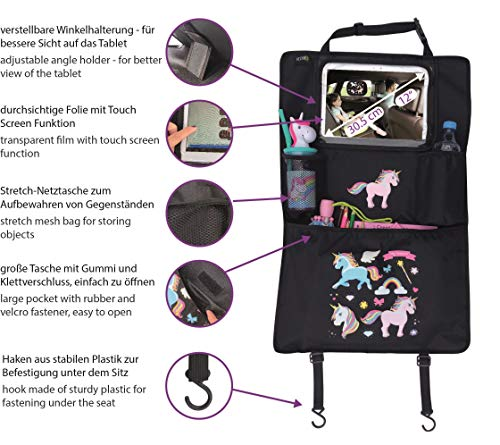 Unicorn Car backseat organizer with adjustable tablet pocket