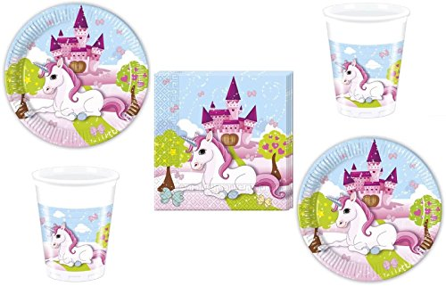 52 Piece Unicorn Party Set - Plate, Cup, Napkins