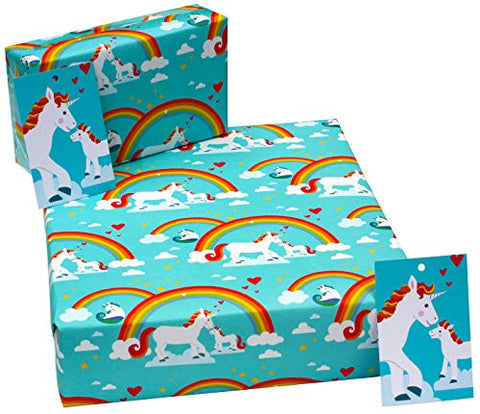 3 Sheets of Unicorn Birthday Gift Wrap Wrapping Paper with Tags