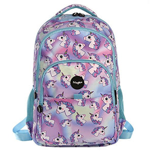 FRINGOO® Girls Boys Multi-compartment School Backpack Waterproof Fits Laptop 17'' (H:44cm*L:29cm*W:21cm, Hologram Unicorns)