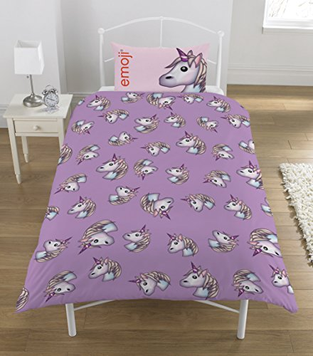 Emoji Unicorn single Duvet Set, Lilac