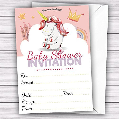 Pack of 20 Glossy Unicorn Baby Shower Party Invitations Cards with 20 x Envelopes for birthday, baby shower