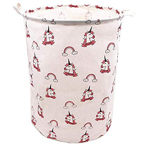 Rainbow Unicorn Laundry Hamper For Girls | Toy Storage Basket | Pink
