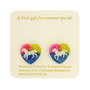 Childrens unicorn earrings - Stud earrings with gift bag