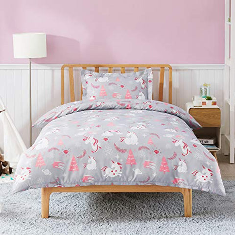 Cute Unicorn Duvet Cover Set Single Size - Unicorn Bedding 135x200cm | Grey & Coral