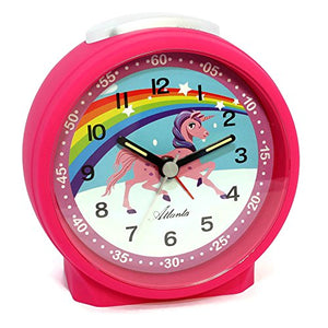 Pink unicorn bedside table alarm clock. Rainbow design, multicoloured. Snooze function. Kids bedroom.