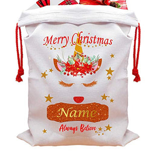 Personalised Christmas Sack Santa | Glitter Unicorn