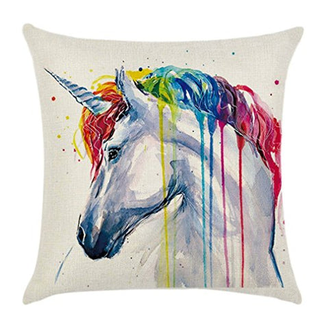 HENGSONG Unicorn Printed Pillow Case Colorful Linen Throw Pillow Cover Cushion Cover PillowCase Home Decor