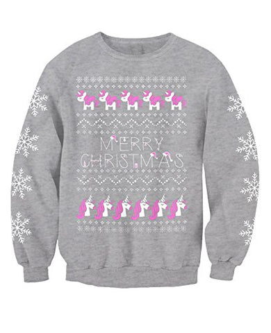 Kids Novelty Christmas Unicorn Jumper, Sweatshirt | Grey