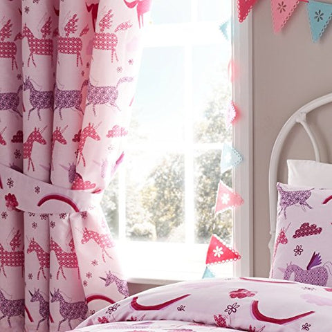 "Unicorn Pink Girls Fully Lined Pencil Pleat Curtain Set 66"" x 72"""
