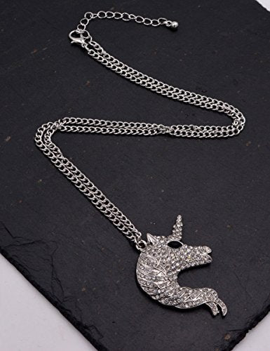 Silver Tone Chunky Unicorn Design Pedant Long Necklace (Organza Gift Pouch Included)