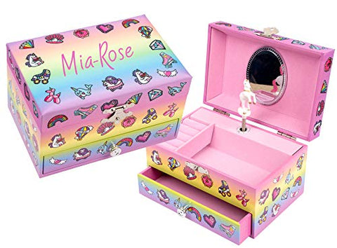 Fringoo® Personalised Jewellery Box | Rotating Unicorn & Mirror | Gift Idea